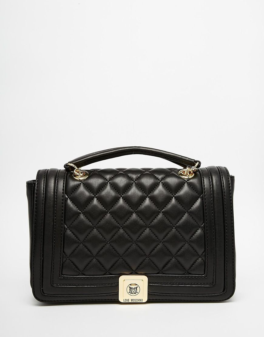 Image 1 of Love Moschino Quilted Shoulder Bag with Chain Strap in ...