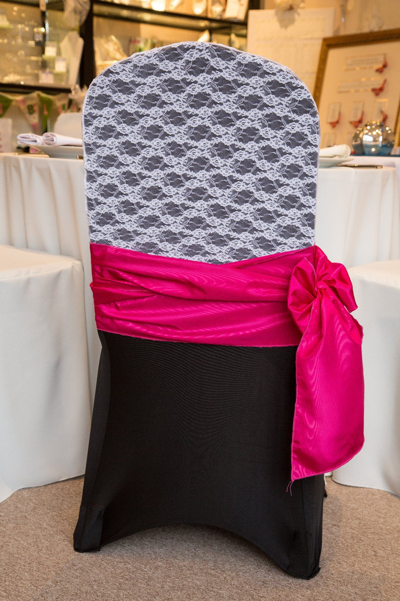hot pink spandex chair covers desk chairs staples uk pin by dwayla walker on event decor wedding black lace hood and sash http www