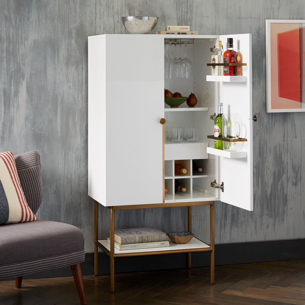 Downing Bar Cabinet - White/Antique Brass | Wine cabinet | Pinterest ...