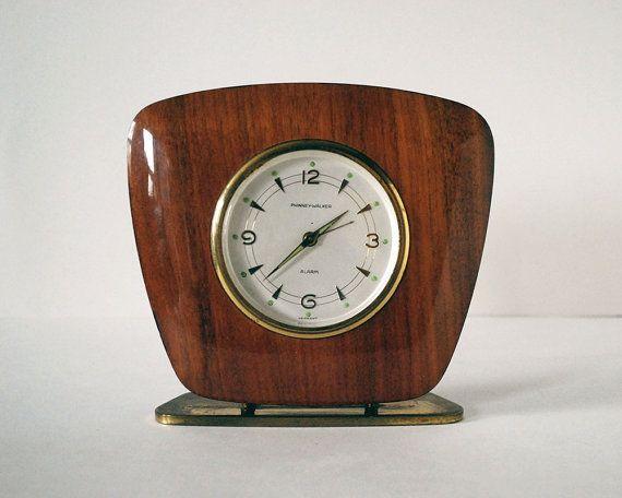 Modern Desk Accessory, Mid Century Modern Clock, Phinney Walker Maple Desk  Clock, Semca German Clock, Vintage Brass Retro, Man Cave Decor