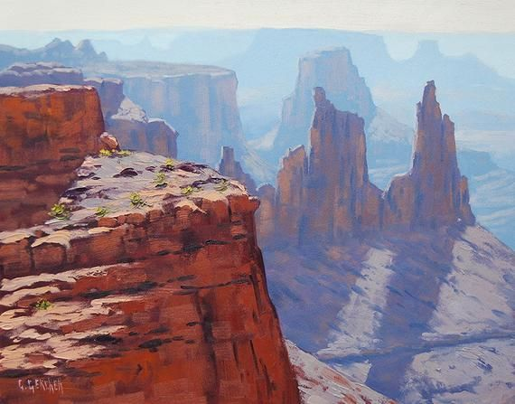 CANYON PAINTING DESERT Landscape Painting Traditional Art by listed Artist G.  Gercken#art #artist #canyon #desert #gercken #landscape #listed #painting #traditional