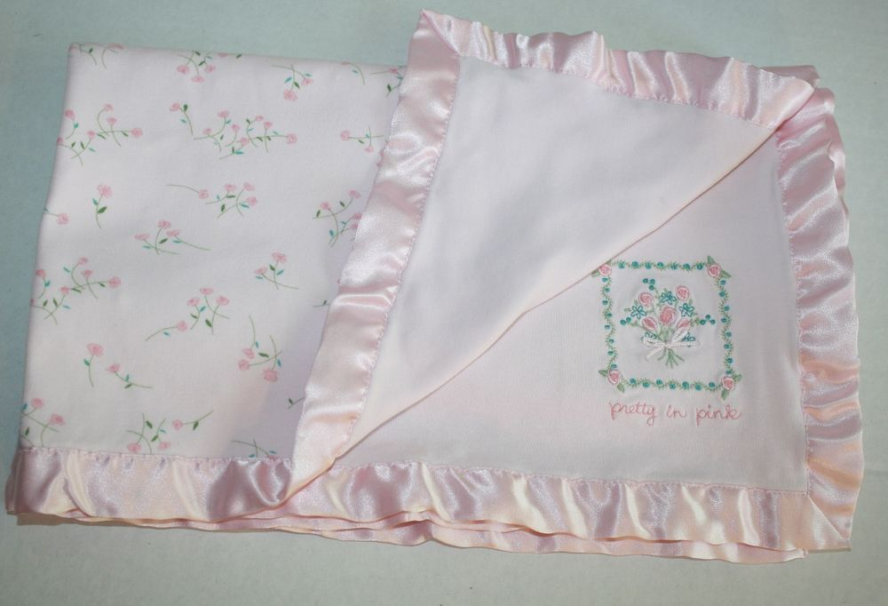 Carters Classic Pretty In Pink Baby Blanket Floral Print Flowers