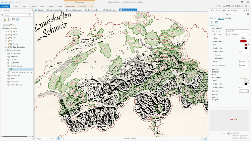 Landscape Map in the Spirit of Erwin Raisz in 2020 Map
