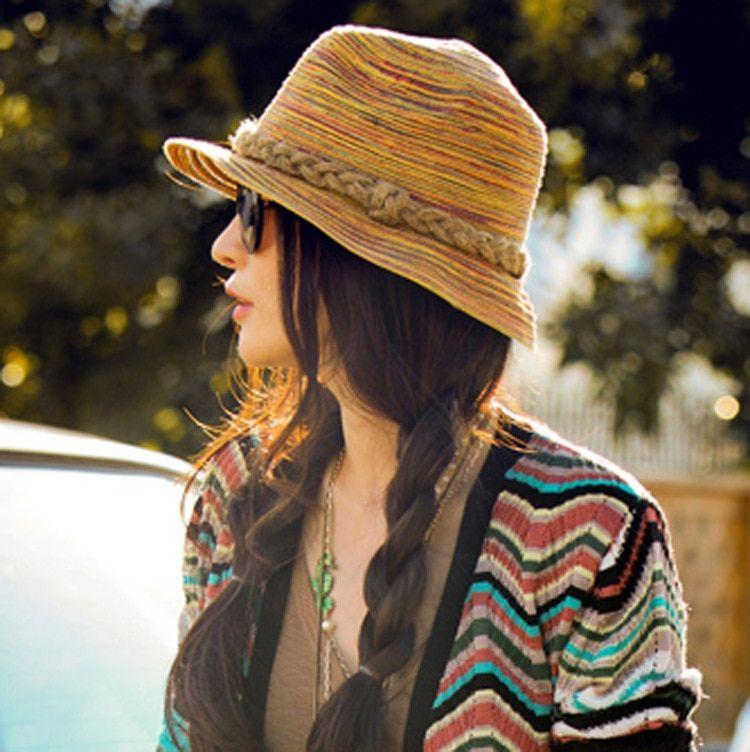 cb430e92c7463 New Vintage Style Handmade Straw Hat Colorful Vacation Sun Caps Beach Twist  Detailing Summer Panama Sun