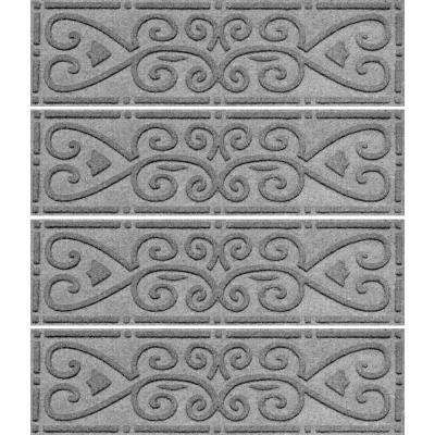 Best Medium Gray 8 5 In X 30 In Scroll Stair Tread Cover Set 640 x 480