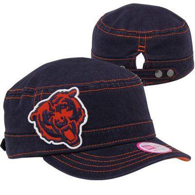 24fe2bb30 New Era Chicago Bears Ladies Chic Cadet Military Hat - Navy Blue Orange