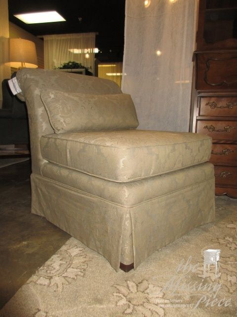 Craftmaster Armless Occasional Chair In A Taupe Patterned Upholstery