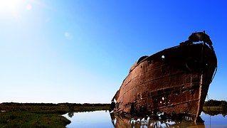 Barco, Oxidado, Metal, Antigua, Río