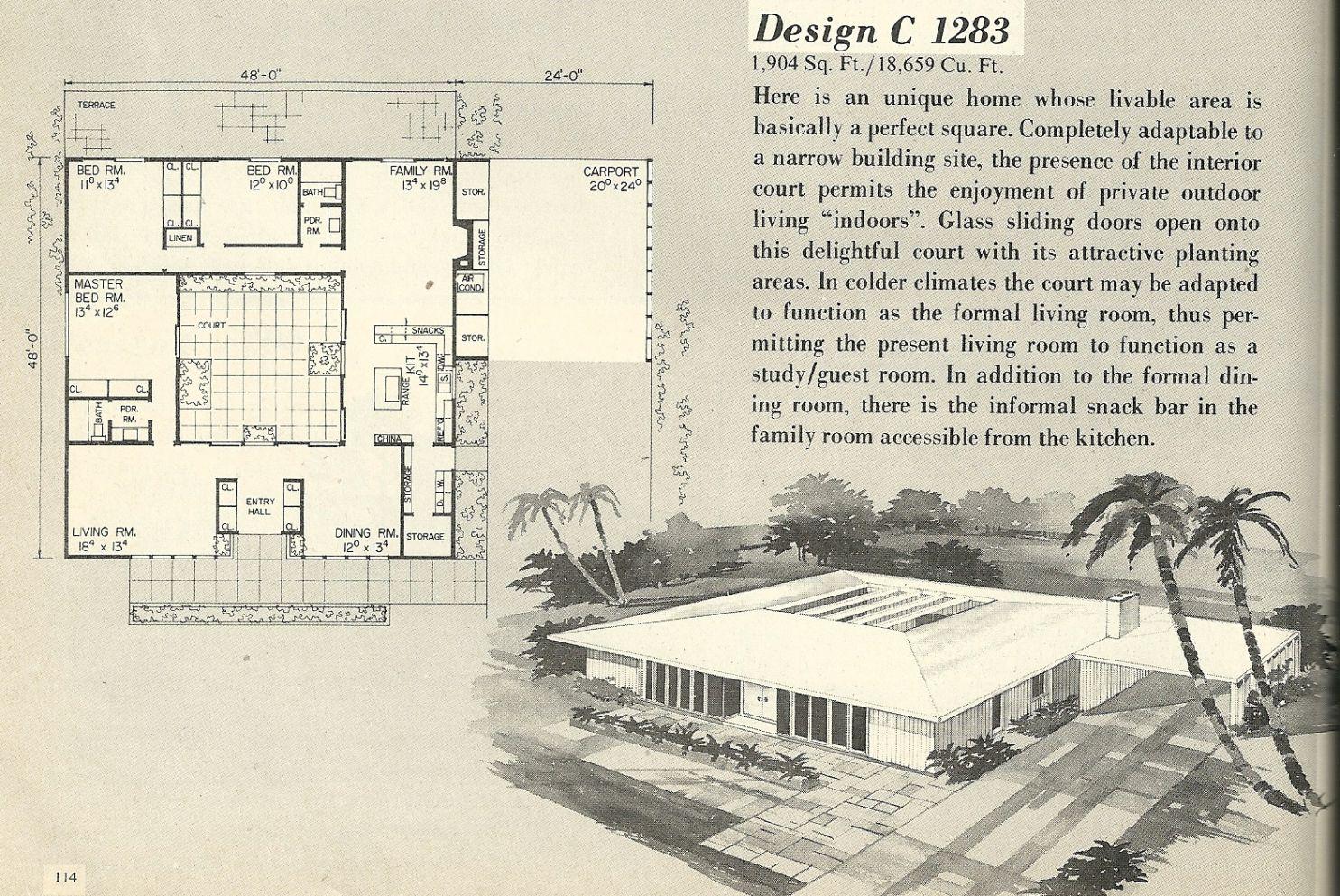 Vintage house plans, 1960s house plans, mid century house ...