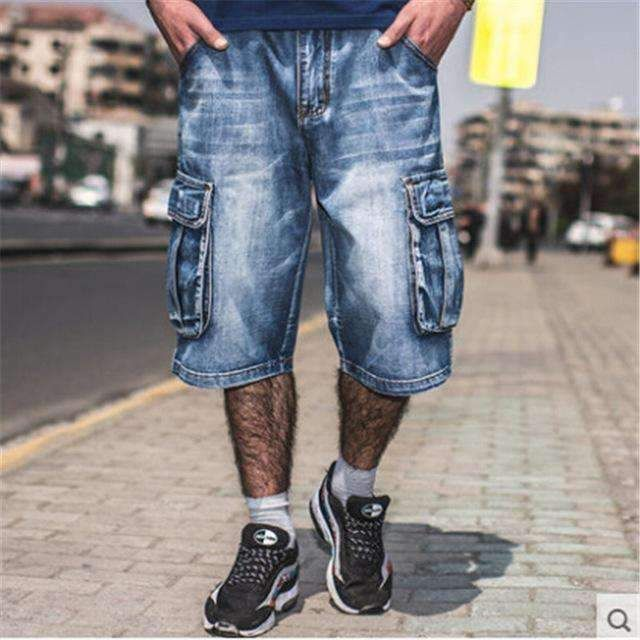 1b53e101c6 Plus Size Men Summer Denim Short With Pockets Casual Fashion Blue Color  Loose Version Male Cargo Shorts A3004