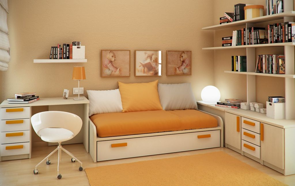 Kids Bedroom, Small Space For Kids Room Interior Design: Creamy Wall Paint  Compiled With Light Yellow Bed And White Table Set And Bookshelf. Part 30