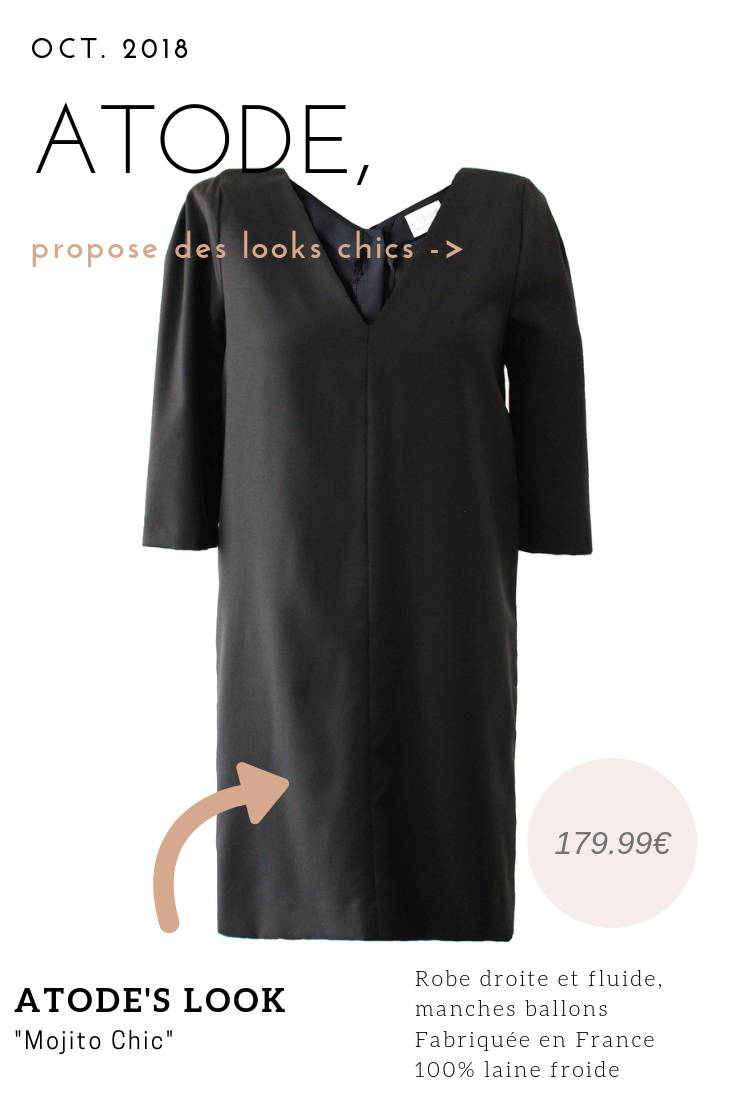 Robe Droite Noire Manche 3 4 En Laine Froide Chrystelle Robe