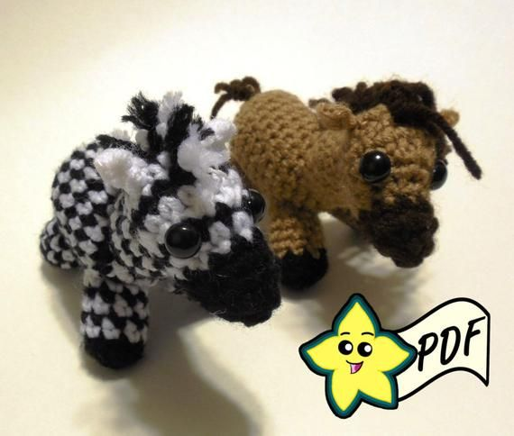 PDF Crochet Amigurumi Animal Pattern: Mini Zebra Pattern and Horse PATTERN #horsepattern