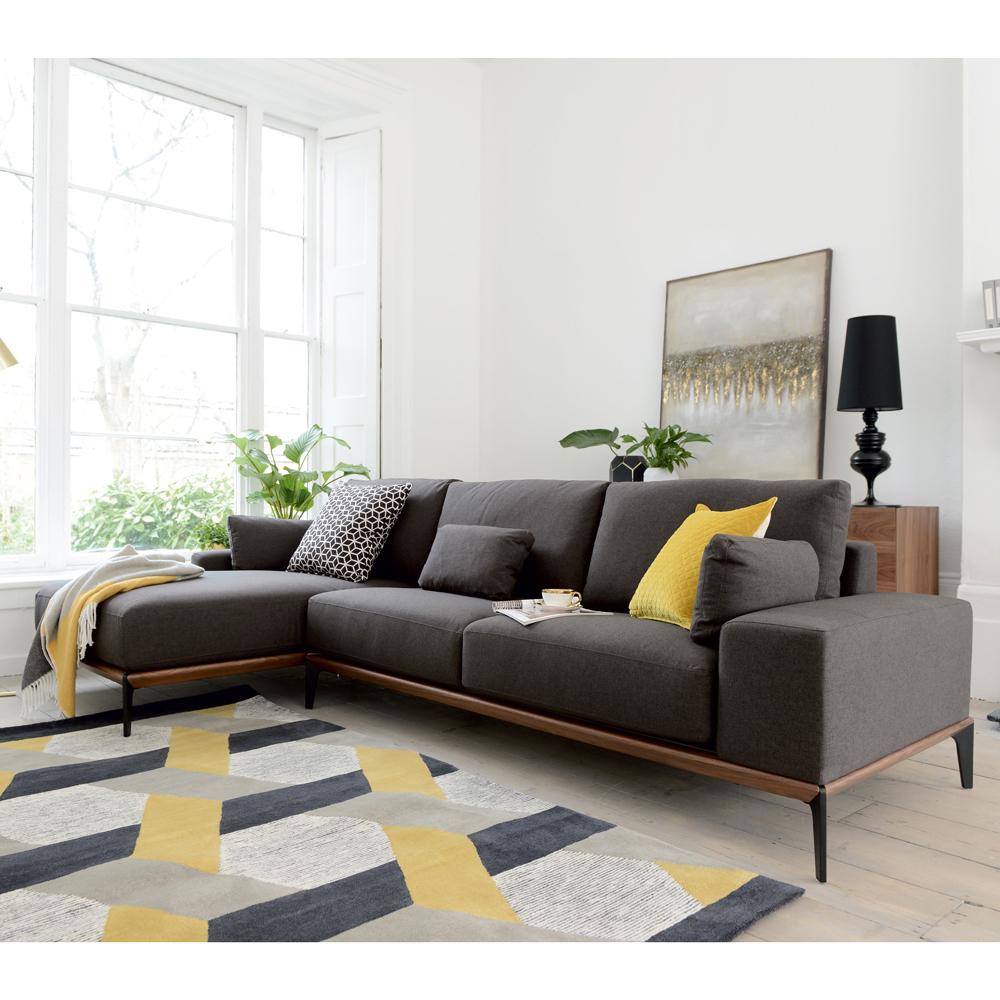 Malmo Left Hand Corner Sofa Dark Grey In 2020 Grey Sofa Living