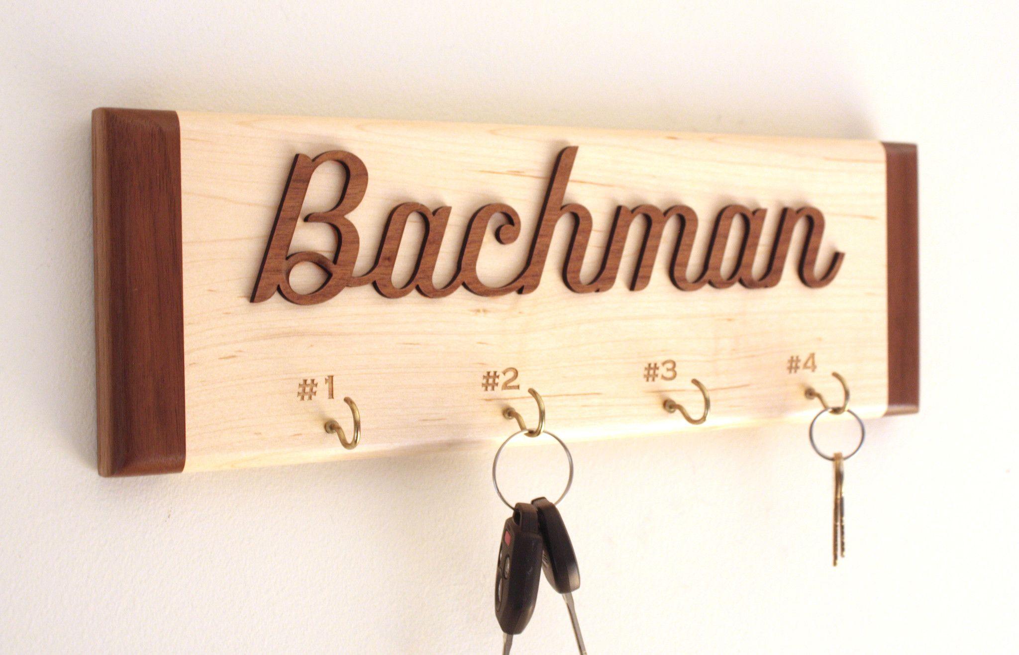 Personalized Wall Key Holder  Wooden Key Rack By Tri~Elegance