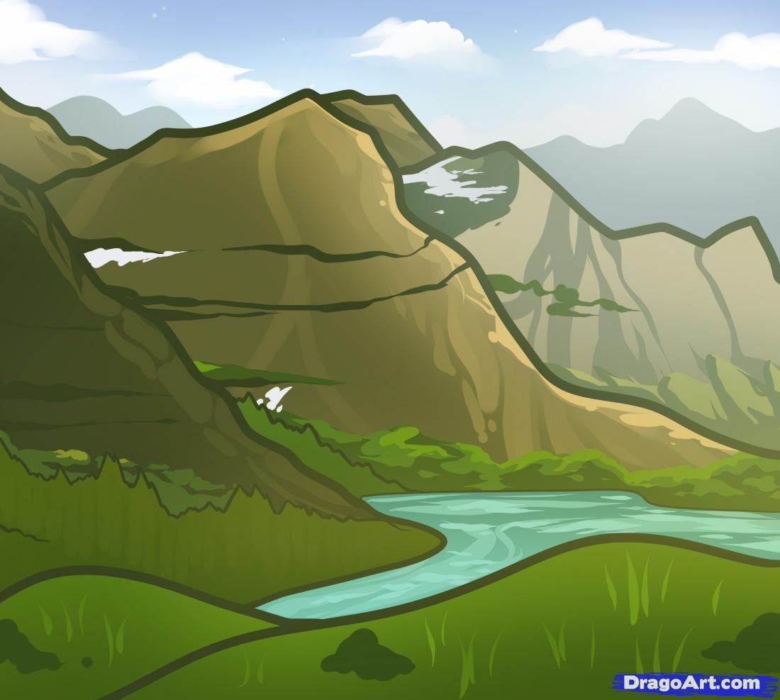 How To Draw Mountains For Kids Step By Step Landscapes Landmarks Places Free Online Drawing Tu In 2020 Mountain Drawing Landscape Drawing Easy Landscape Pictures