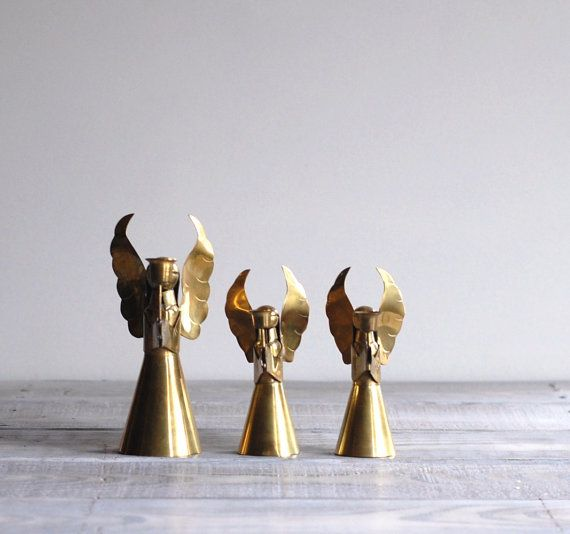 Trio of Vintage Brass Angel Candle Holders.
