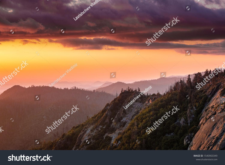 Nature National Park Yosemite Sequoia Sunset Sunrise Mountain Cloudy Cloud Forest Landscape Color Light View Skyline S Yosemite Sequoia National Parks Yosemite