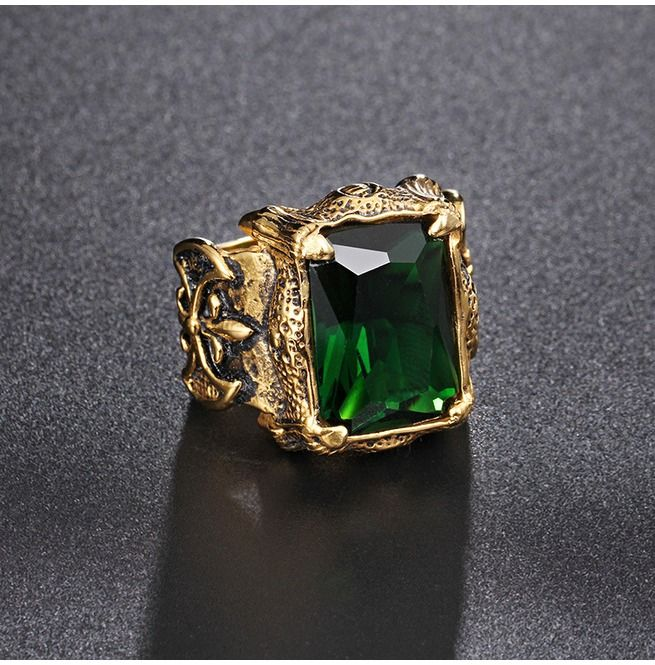 7 mm 316 Stainless Steel Solitaire May Green Emerald Men Gold Plate Ring Size 13