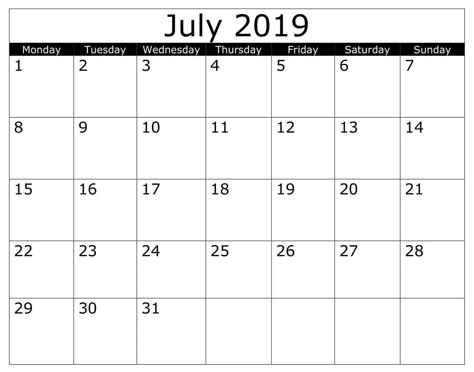 Calendar Printable July 2019 Pdf Printable Calendar July