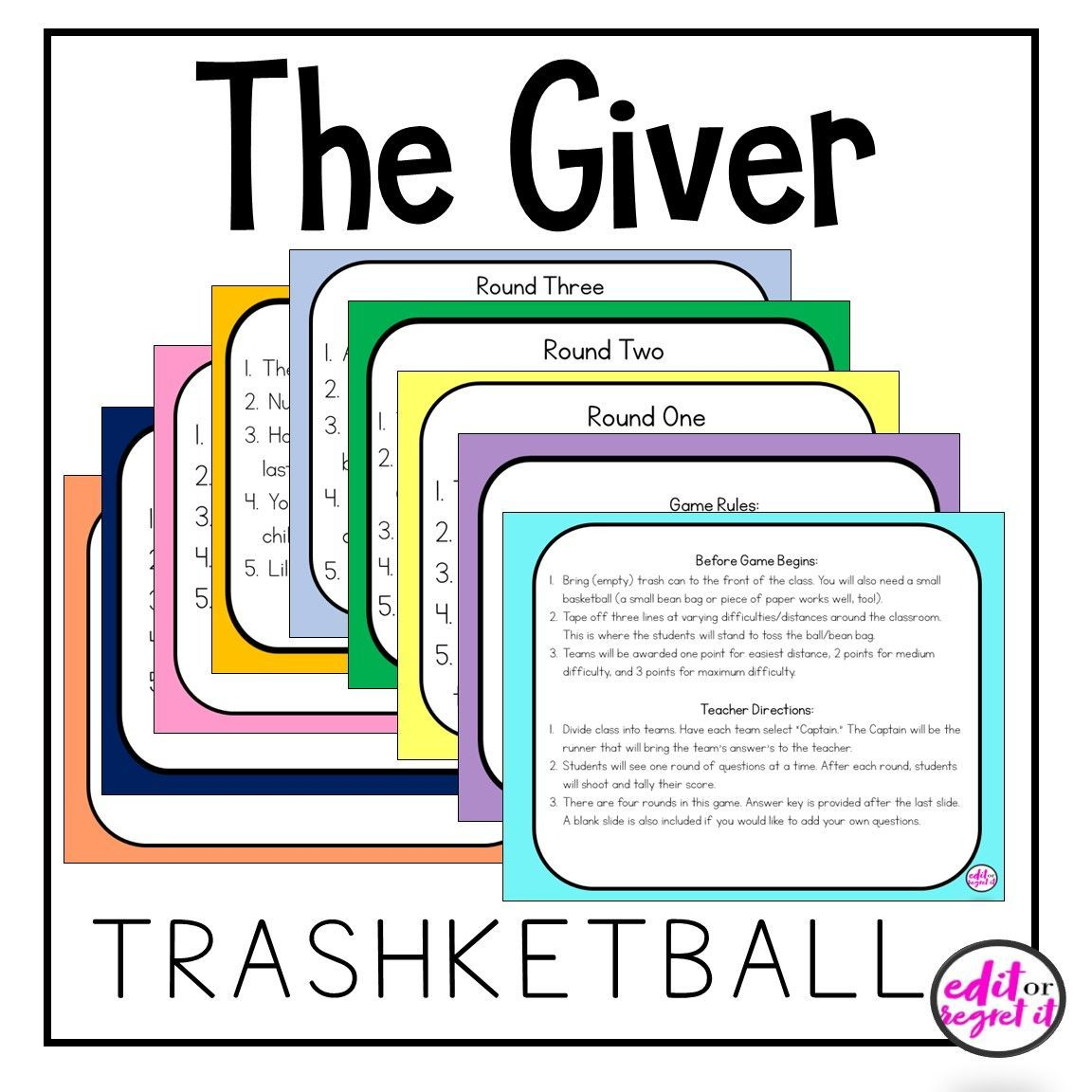The Giver Vocabulary Puzzle Sort