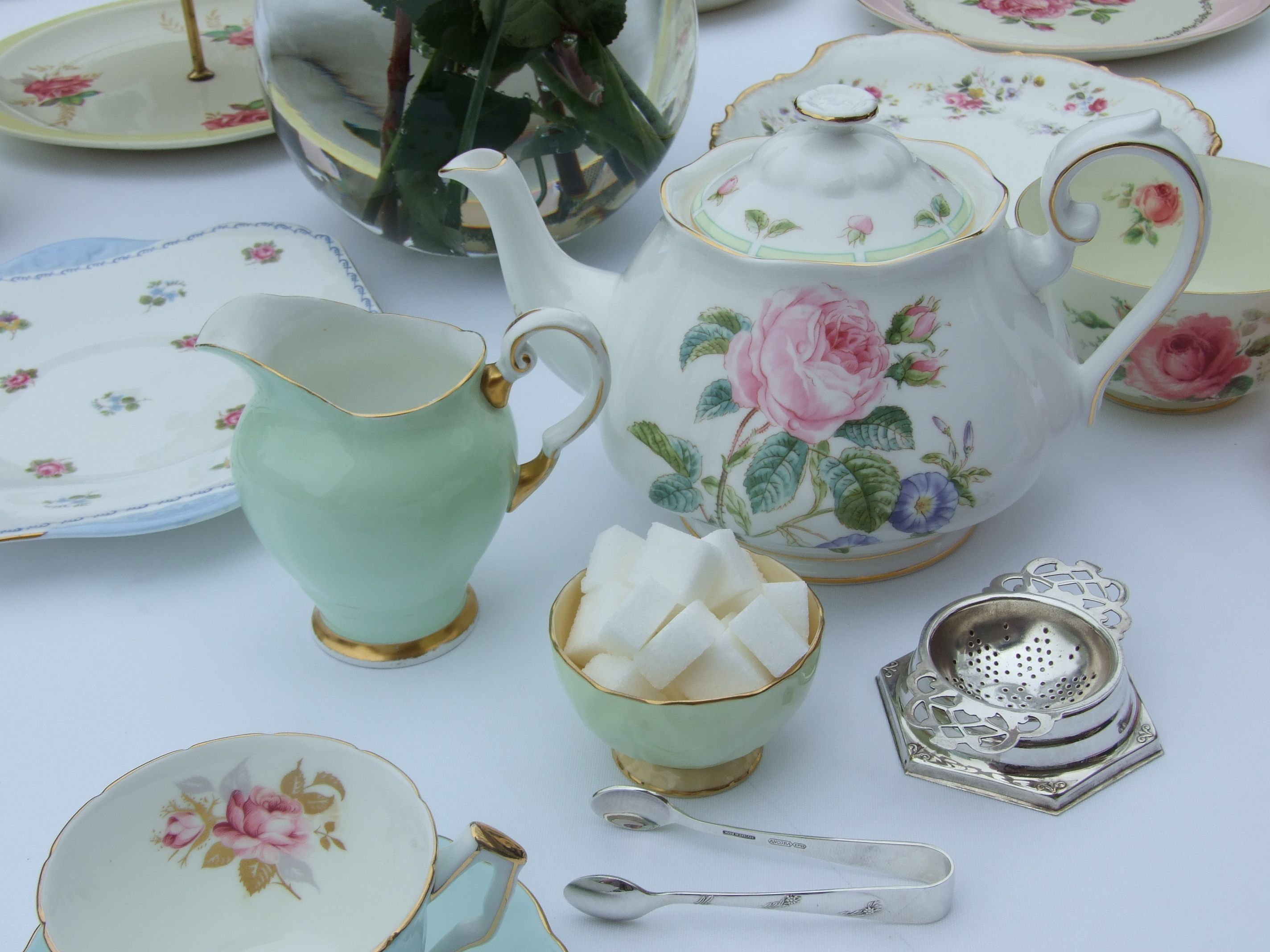 English Tea Table Settings | afternoon tea party hire perth | Antiquitea - Vintage High Teas & English Tea Table Settings | afternoon tea party hire perth ...