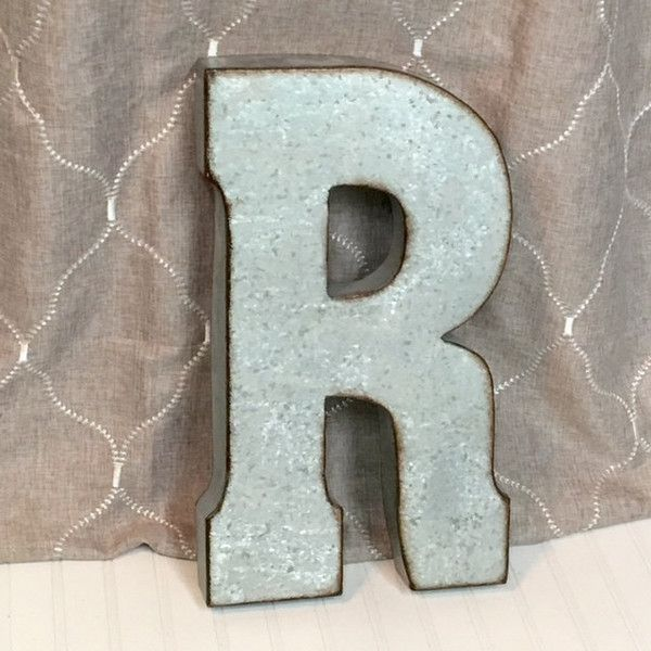 Metal Letters Letter R Large Galvanized Wedding