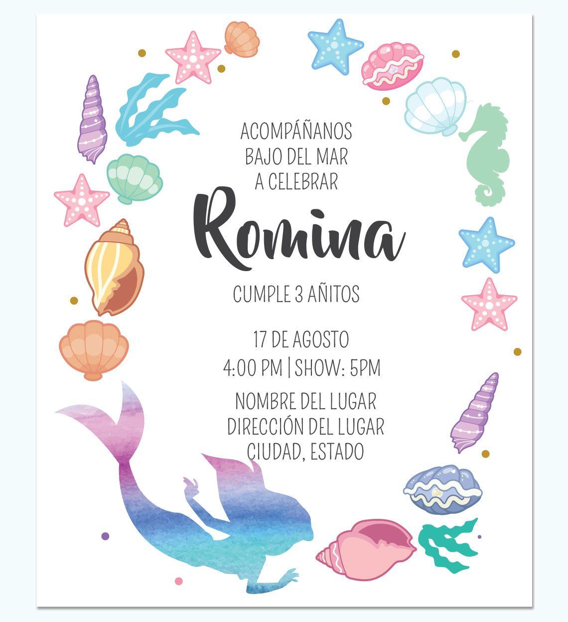 Invitación La Sirenita Colores Cumpleaños De Sirena