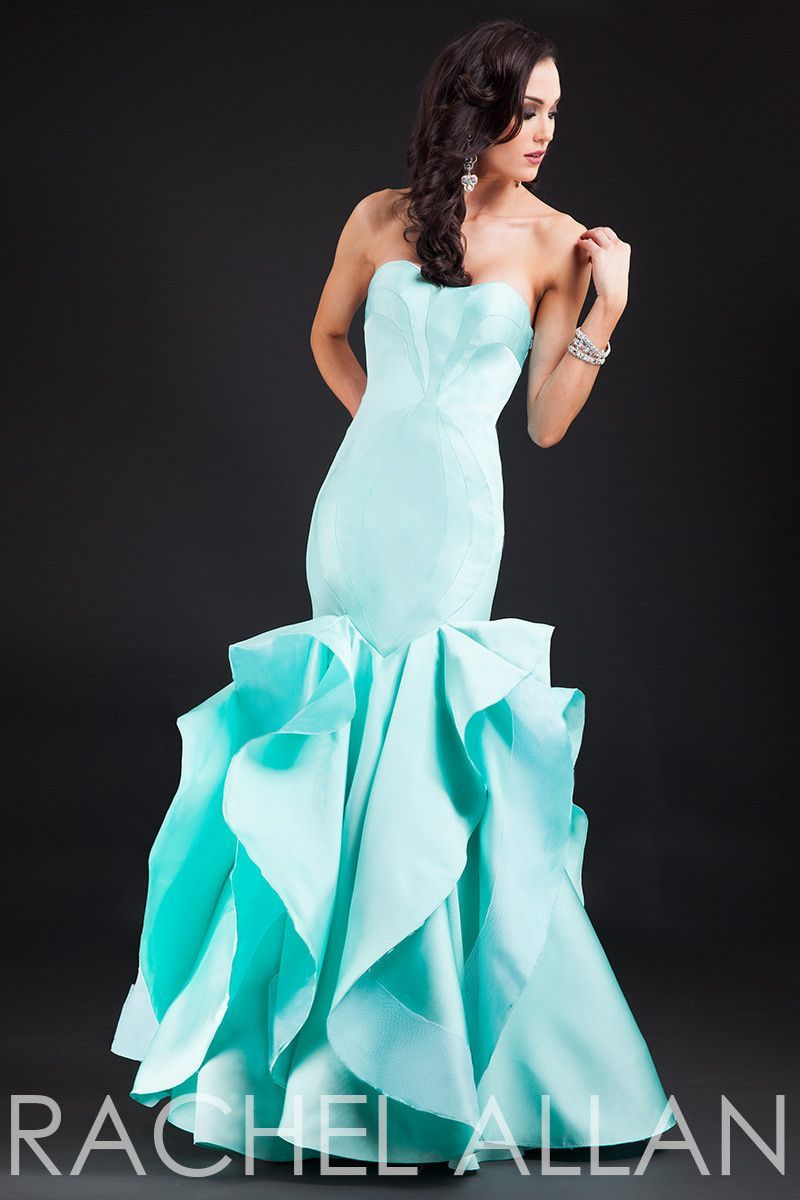 Rachel allen tiffany blue size mermaid prom dress evening