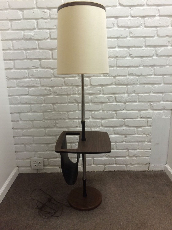 Mid Century Modern Vintage Floor Lamp with Magazine Rack ...