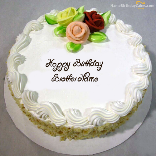 Write Name On Vanilla Birthday Cake For Brother Happy