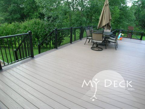 Azek Sedona decking with Azek Kona trim and picture frame; Black ...