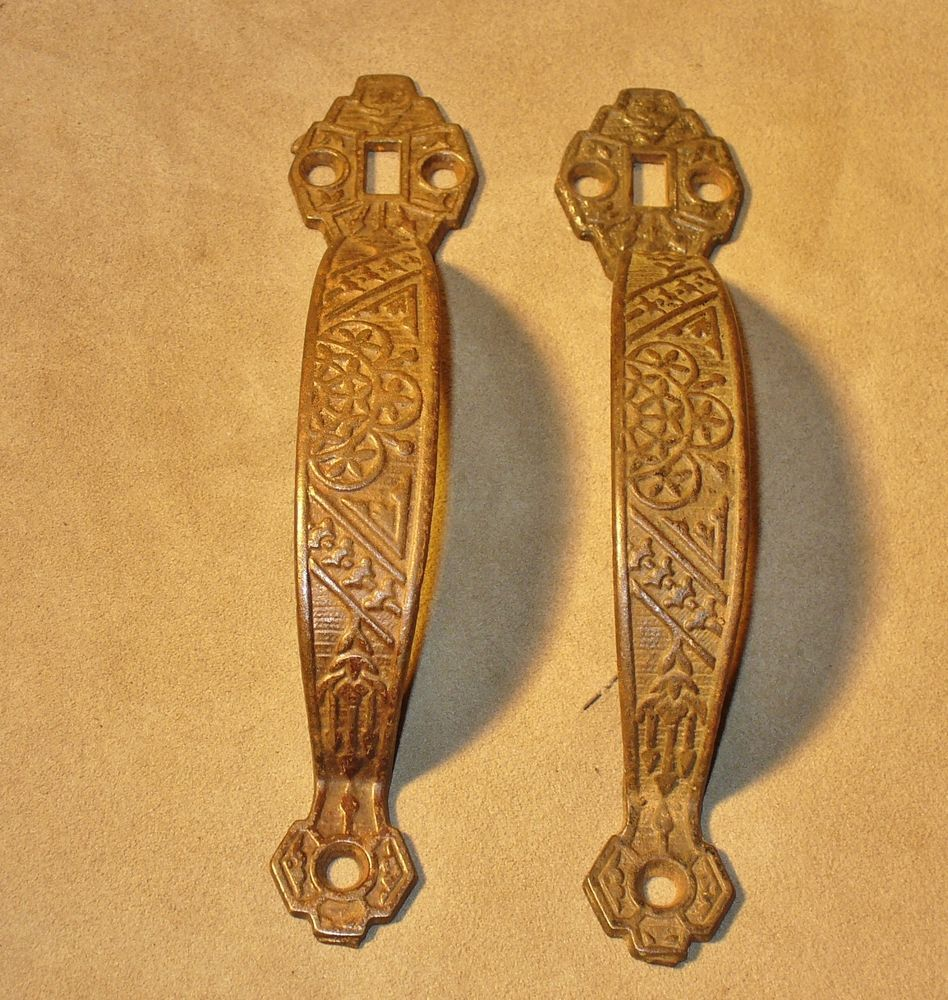 2 Antique Eastlake Matching Thumb Latch Door Pull Handles Vtg Victorian  Hardware