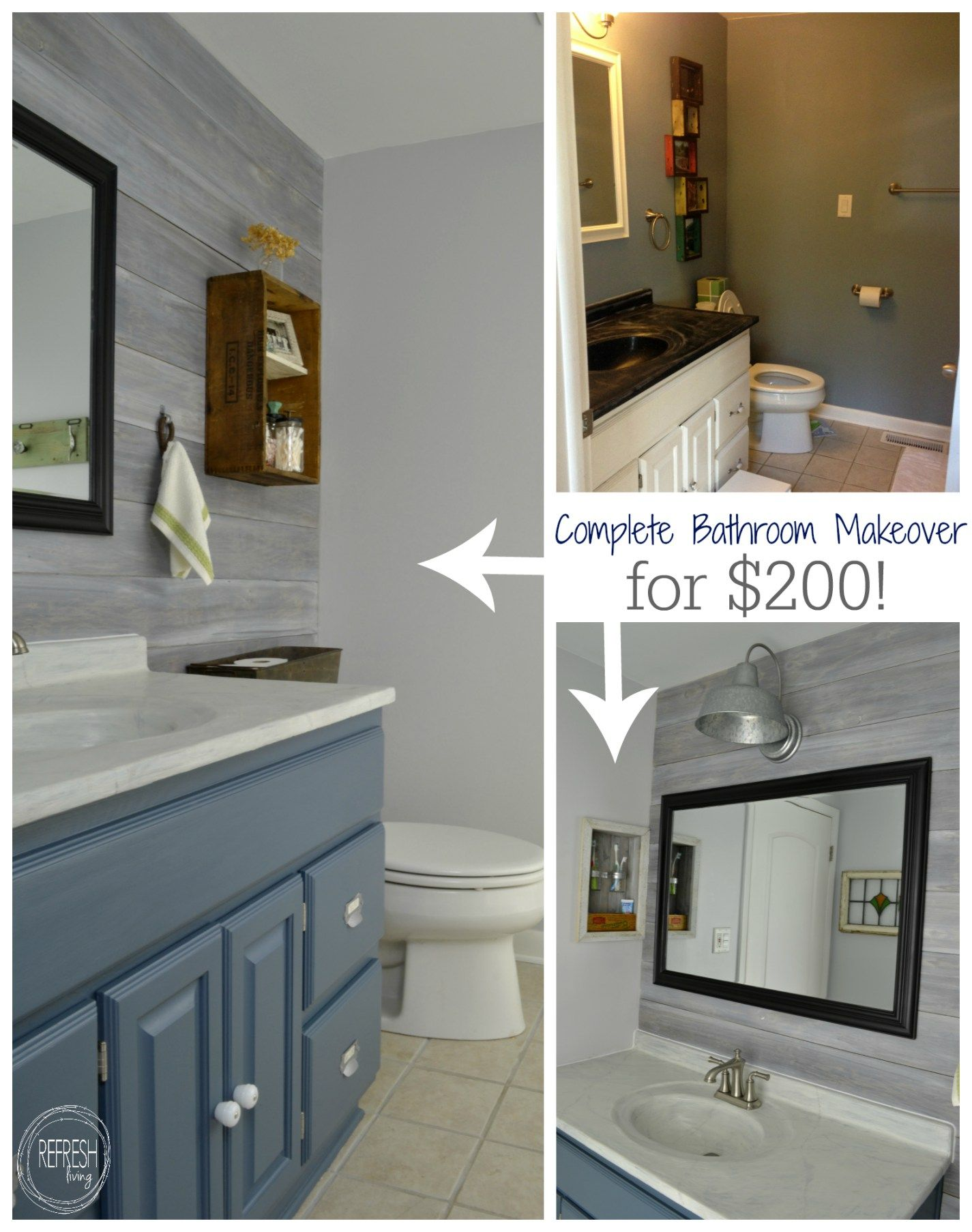 Vintage rustic industrial bathroom reveal upstairs - How to redo bathroom cabinets for cheap ...