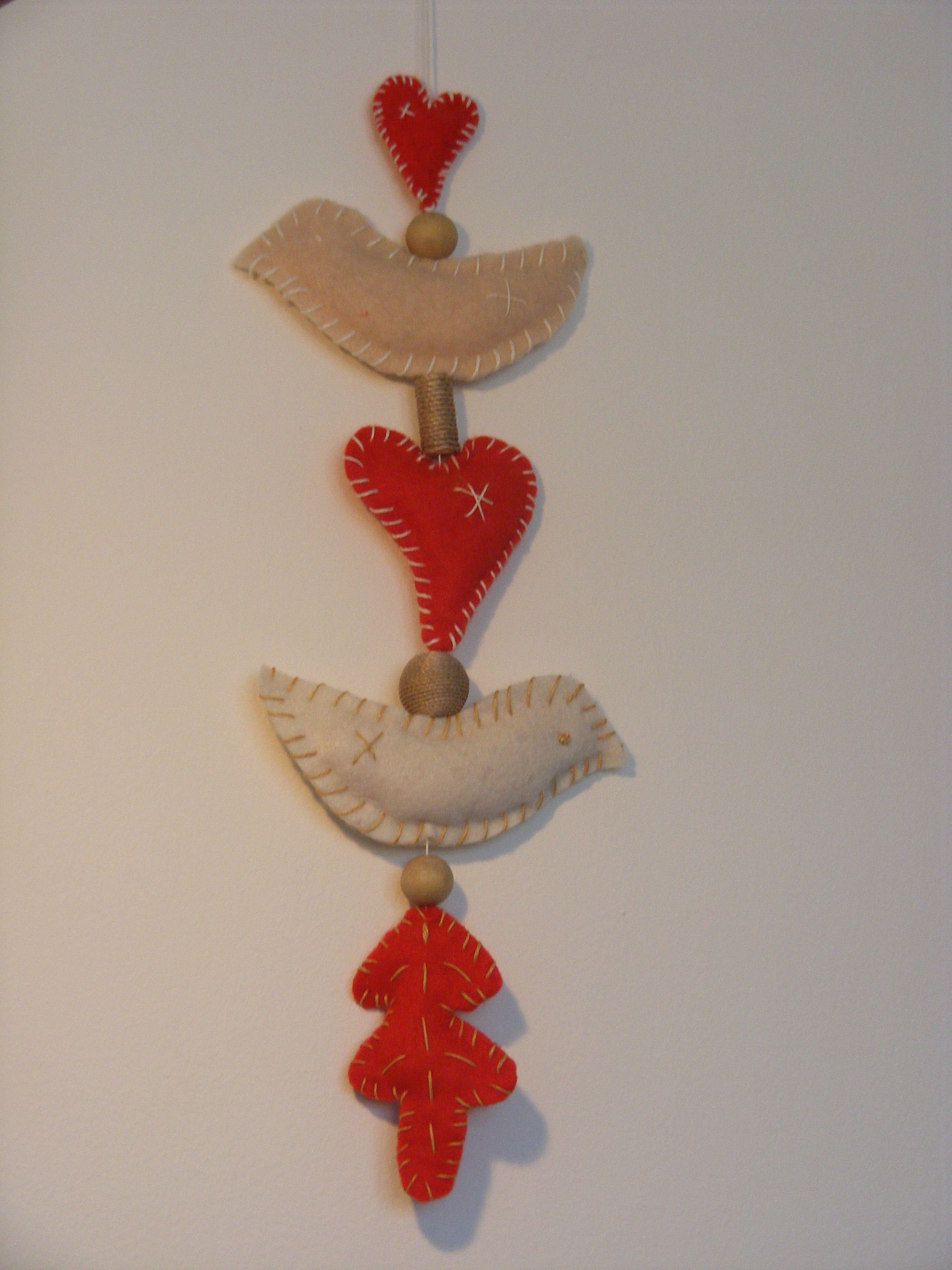 Birds and hearts wall hanging  - eco felt, upcycled beads, made by Geri