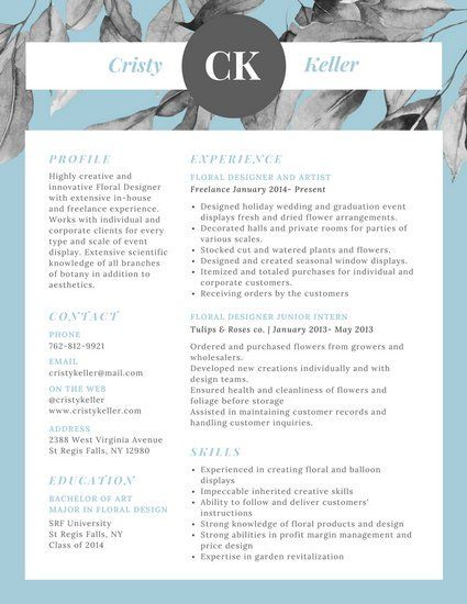 Modern Resume Template Blue Watercolor Leaves Modern Resume  Things I Need To Do