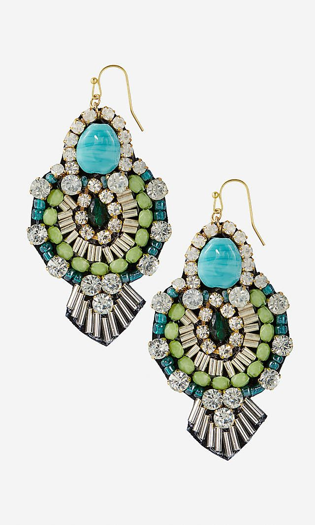 Mixed Bead Fabric Back Turquoise Dangle Earrings   Express