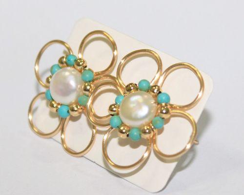 2741536054 Zarcillo Flor con Perlas Natural