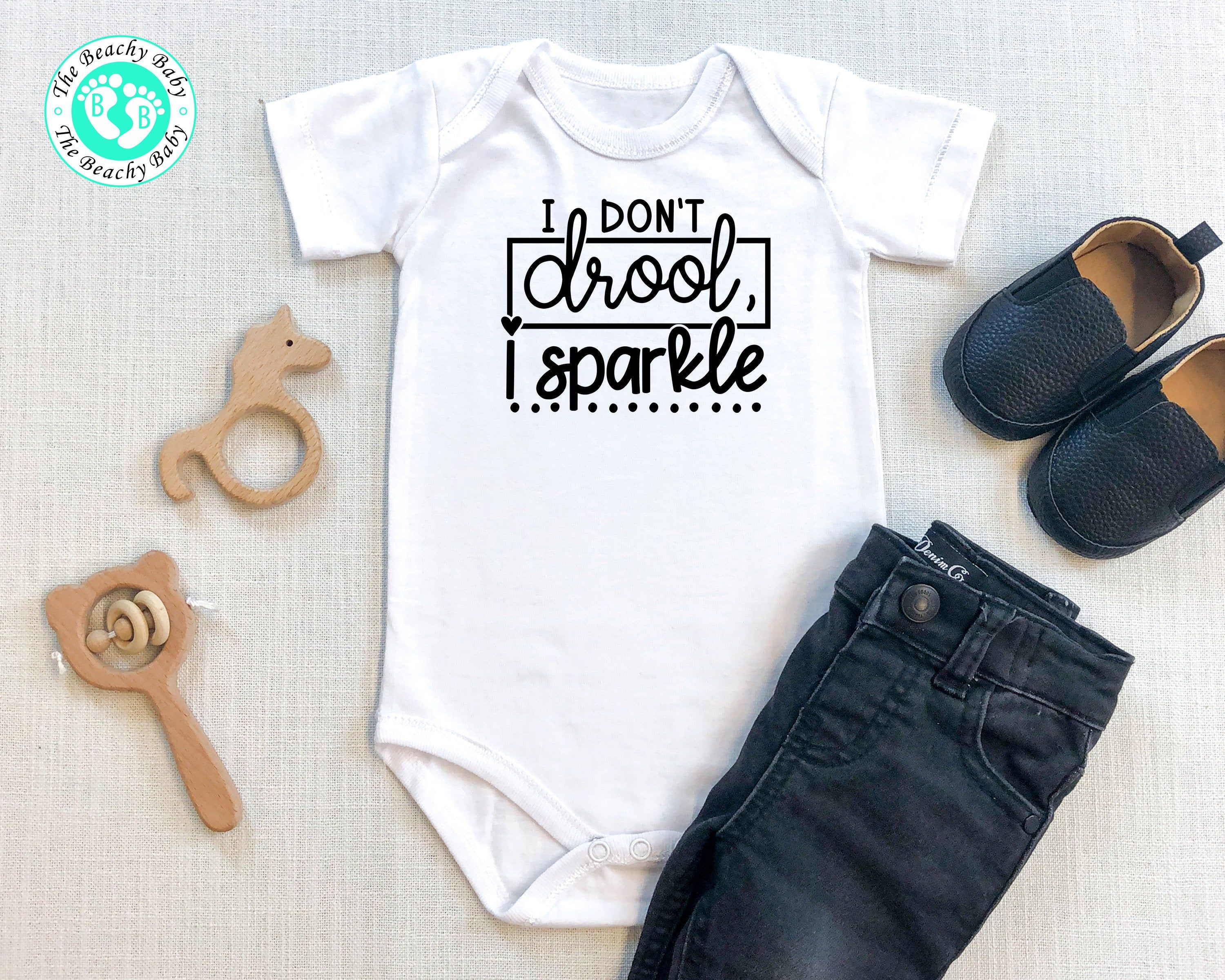 Funny Onesie I Don T Drool I Sparkle Romper Funny Baby Etsy In 2020 Baby Boy Christening Outfit Baby Boy Christening Funny Baby Rompers
