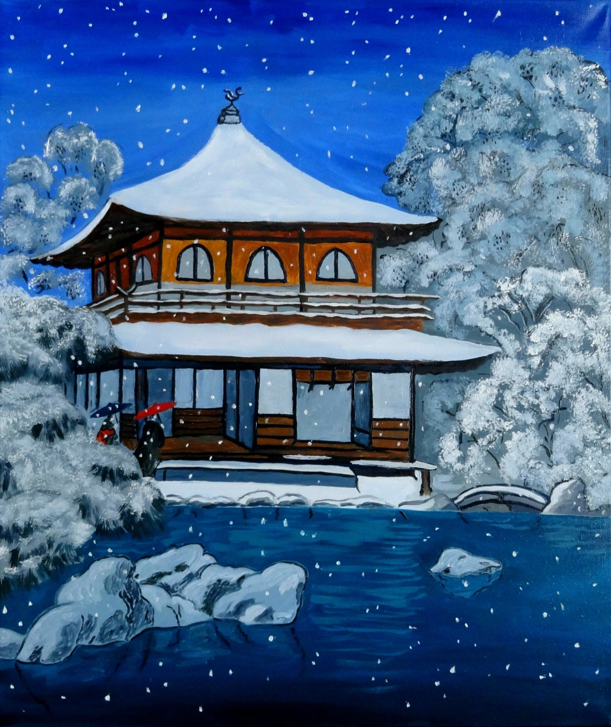 Japanese Painting Original Art Winter Painting Japan Landscape Etsy Japan Painting Japanese Painting Japan Landscape