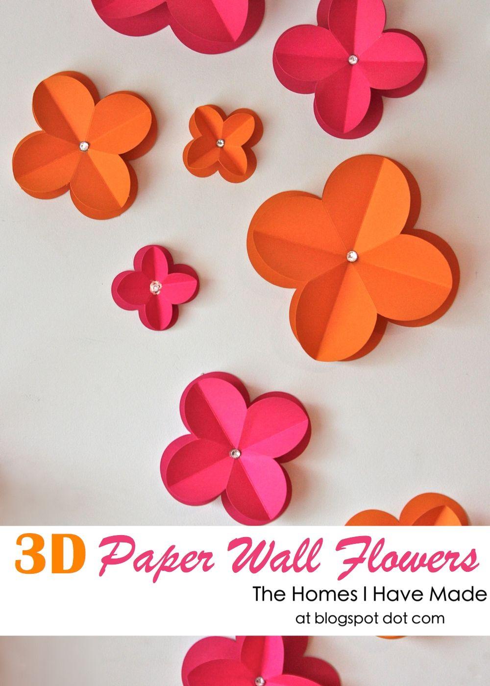 3D Paper Wall Flowers | Lunedì, Fiori di carta e Carta