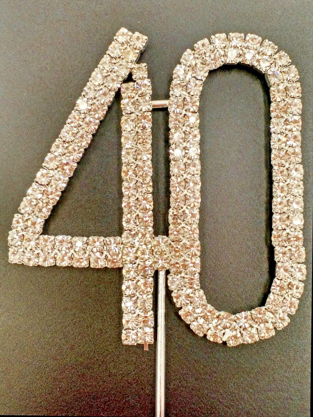Wedding Cake Toppers 20935 Crystal Rhinestone 40Th Birthday Topper Table Number Decoration Bling New