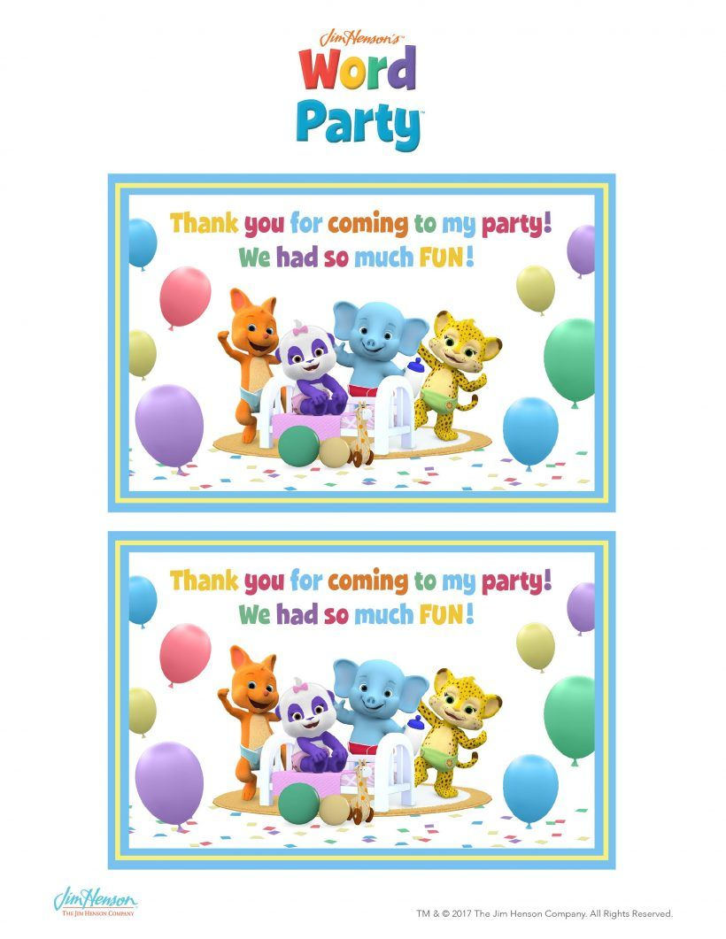 Word Party Birthday Party Printables 1st birthday party