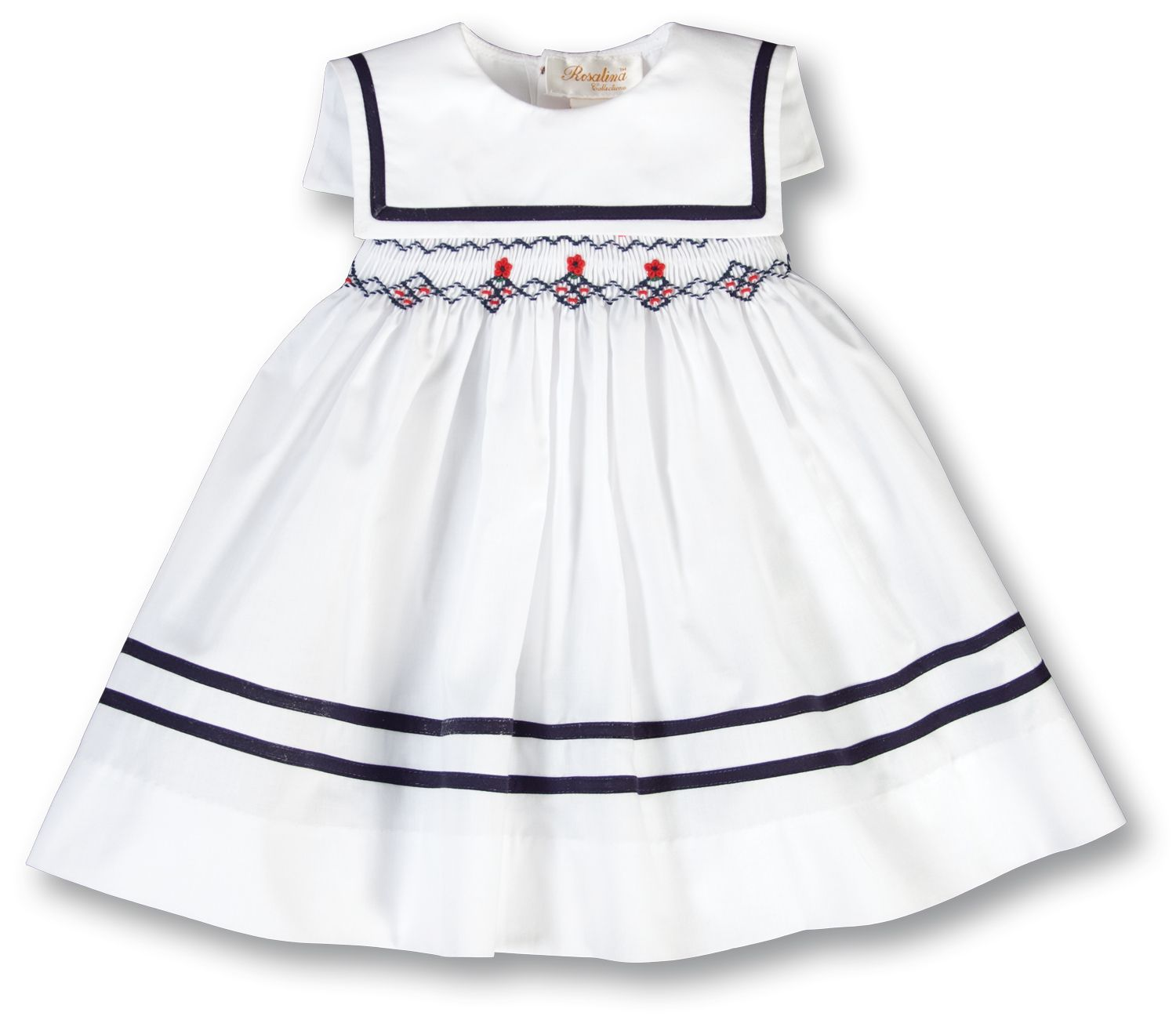 Ahoy red daisy white and navy smocked dress with square collar