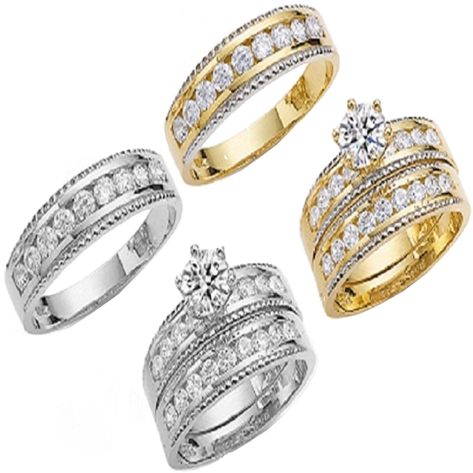 Other Wedding Ring Sets Solid 10K His And Her Yellow White