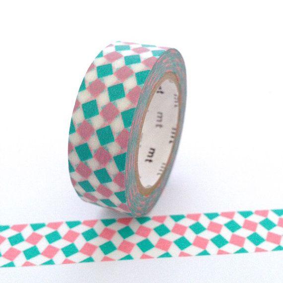 MT cinta rosa y Aqua plazas Washi Tape por Hobbyhoppers en Etsy