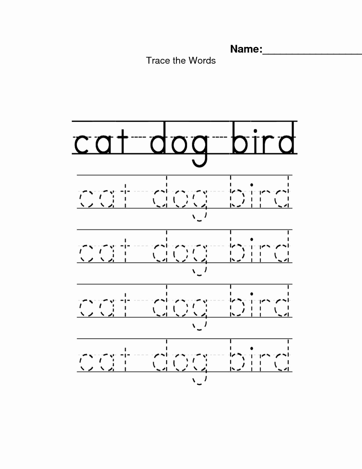 Traceable Name Worksheets For Preschoolers In