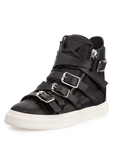 Giuseppe Zanotti  Multi-Buckle High-Top Sneaker, Nero