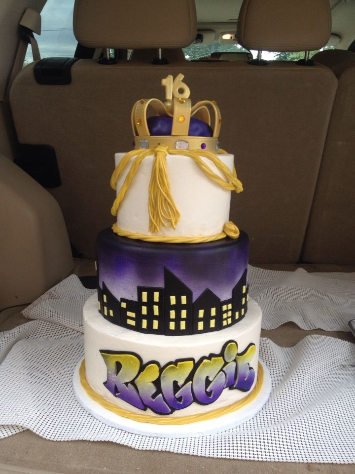Terrific Princely Cake For A 16 Year Old Boy In Purple And Gold With A Funny Birthday Cards Online Fluifree Goldxyz