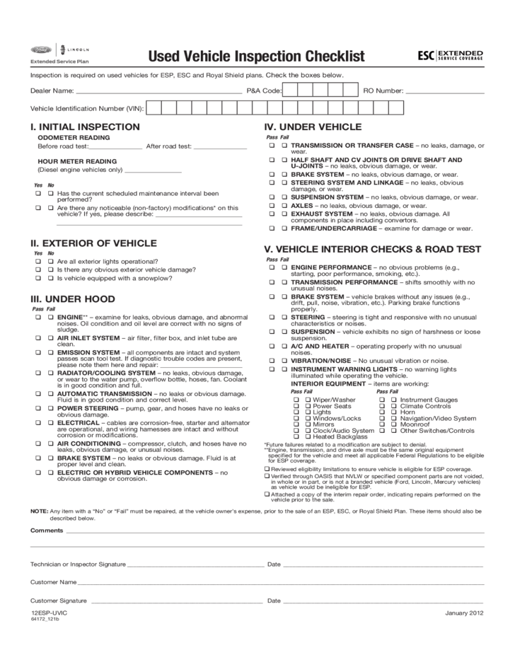 5+ Vehicle Appraisal Forms Inspection checklist